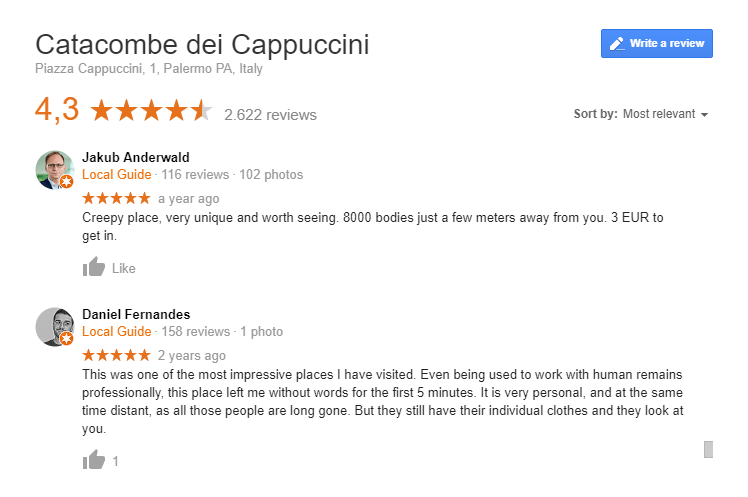 Catacombs Palermo Google review