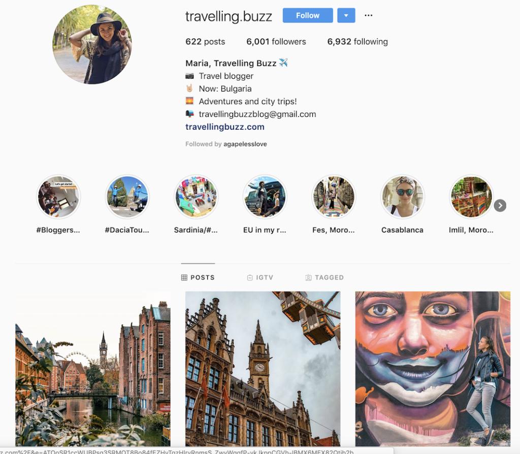 Travel Blogger on instagram