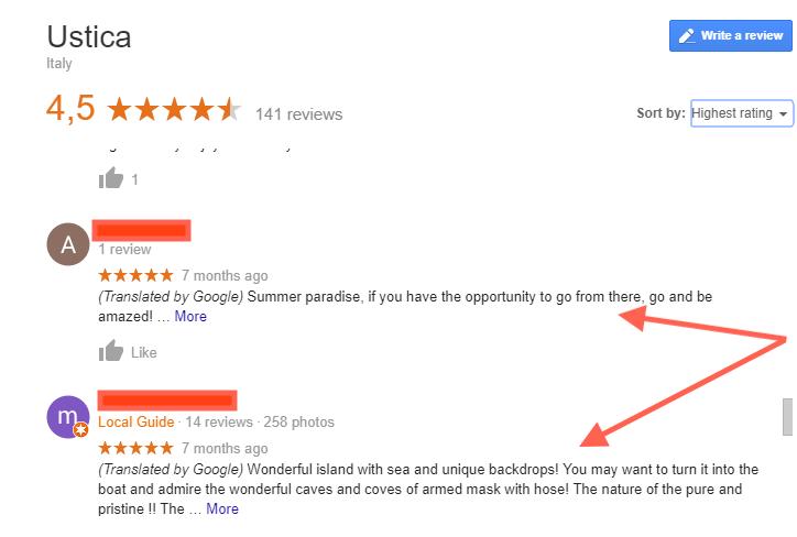 Ustica Island Google Review