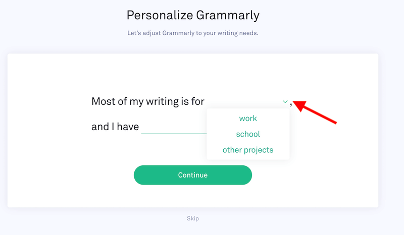 personalize grammarly account